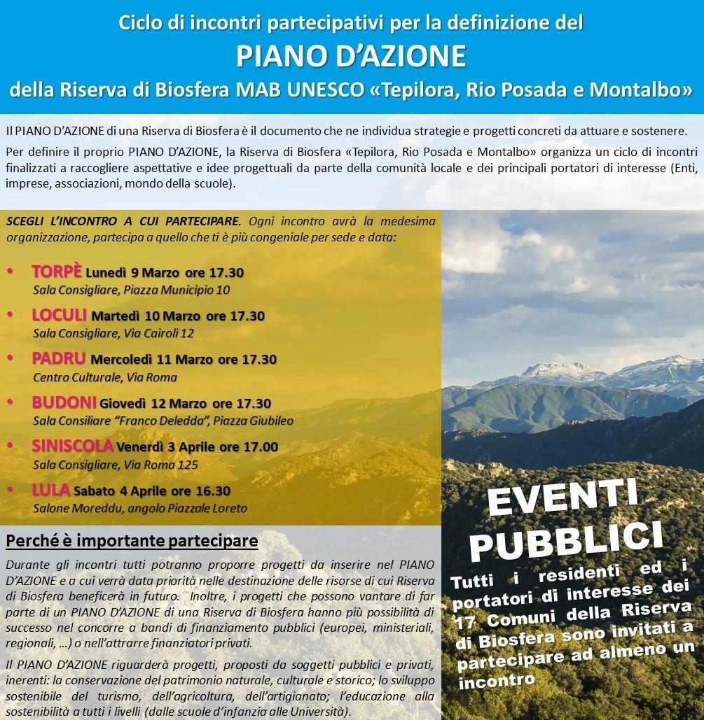 Incontro per Piano D'azione della Riserva di Biosfera MAB UNESCO Tepilora, Rio Posada e Montalbo