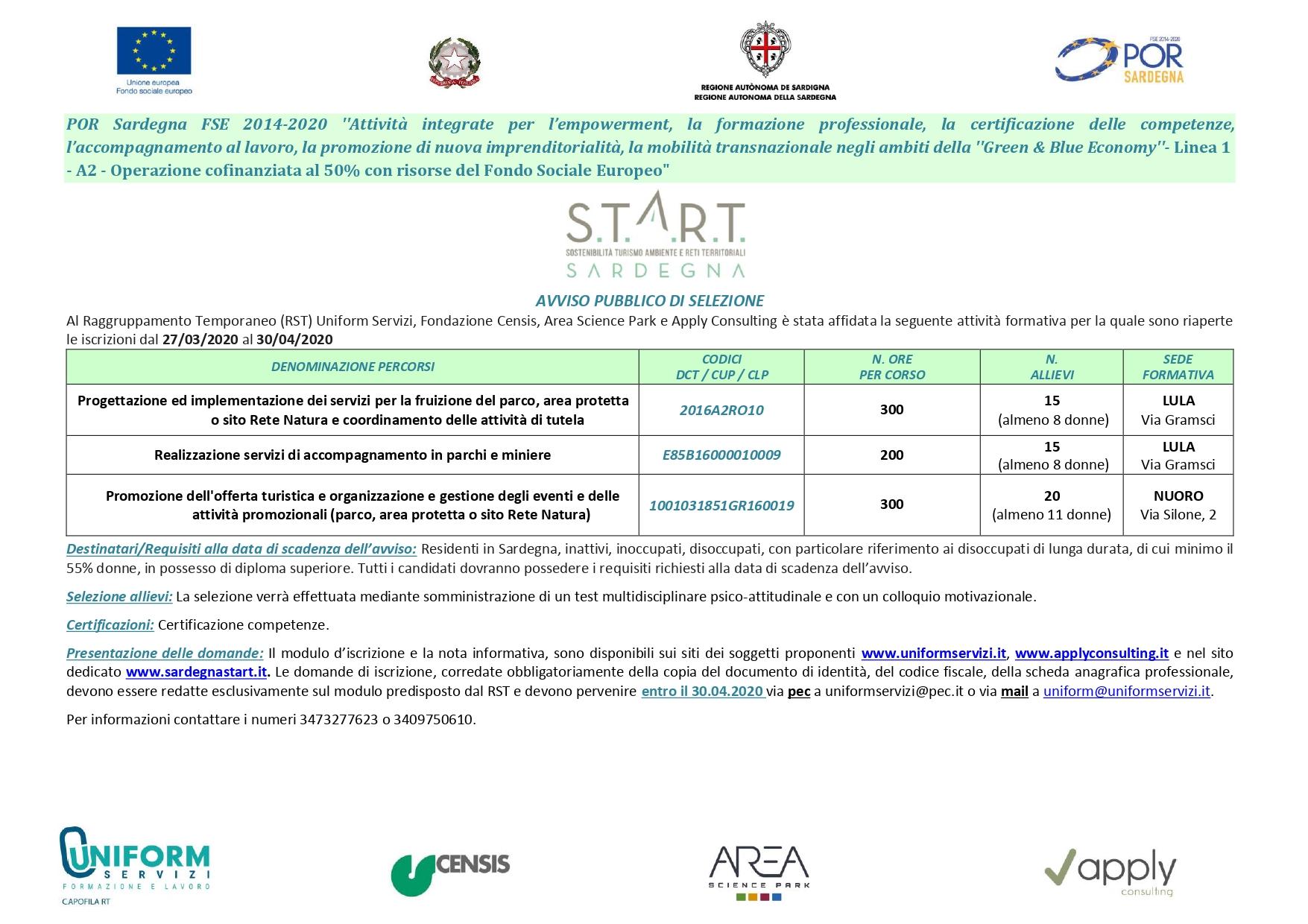 PROGETTO START Sardegna - Proroga iscrizioni corsi formativi sino al 30 aprile 2020