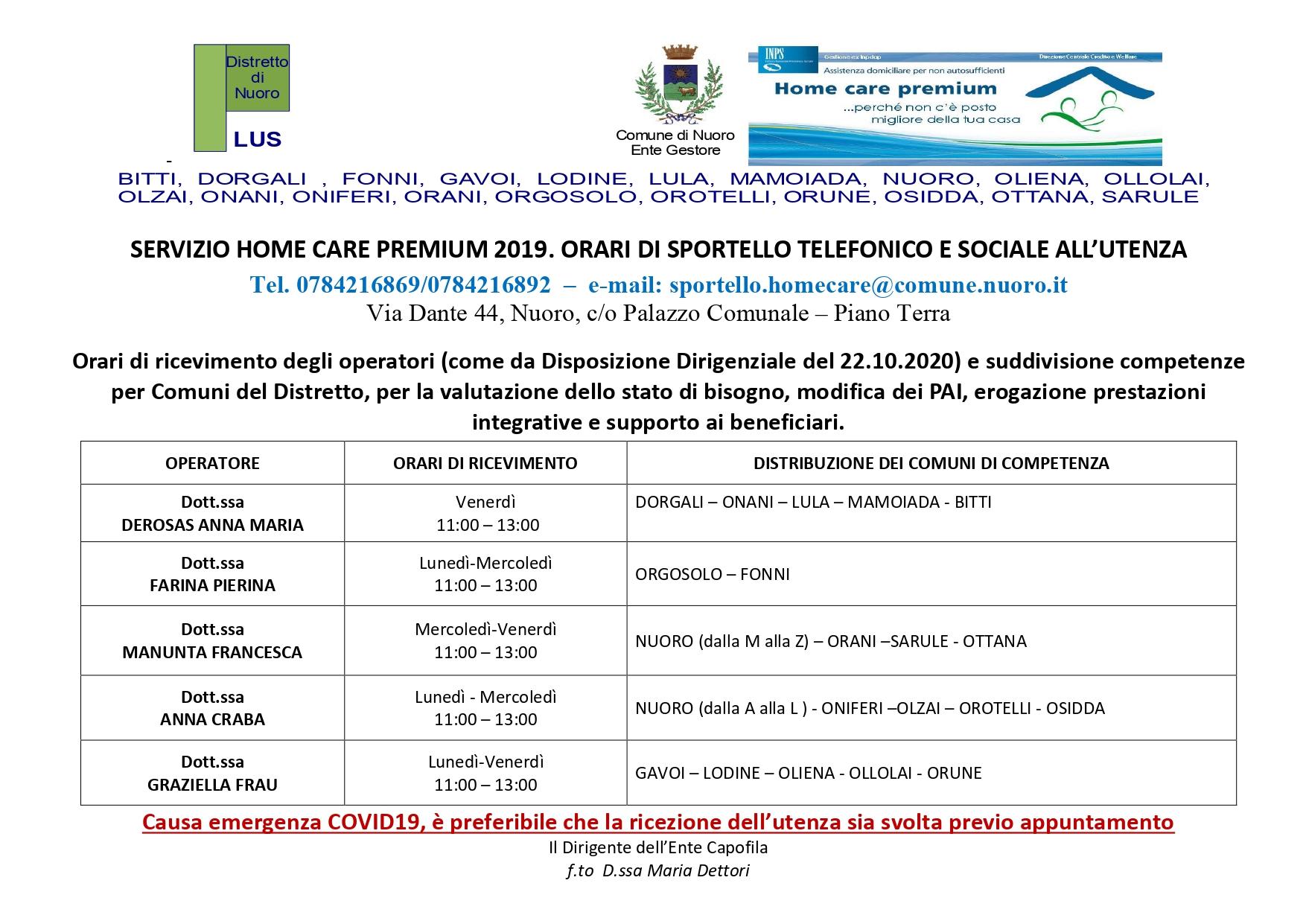 Orari Sportello Plus HOME CARE PREMIUM