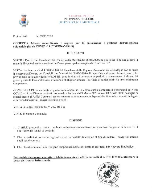 MISURE STRAORDINARIE  PER LA PREVENZIONE E GESTIONE DELL'EMERGENZA EPIDEMIOLOGICA DA COVID 19