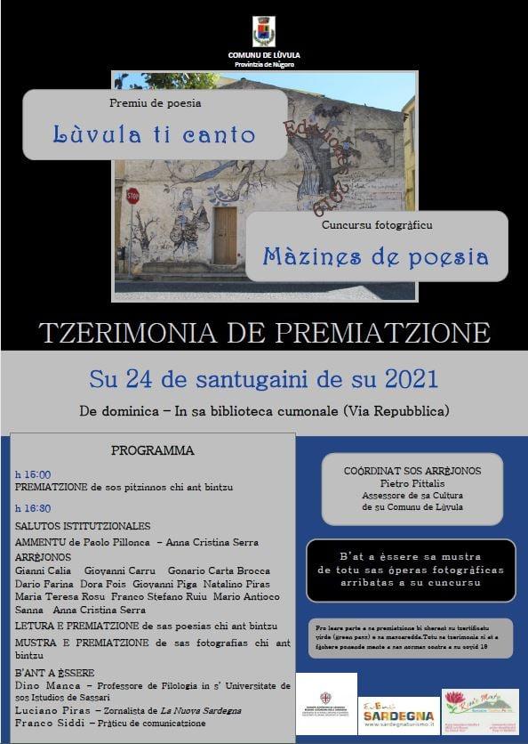 Cerimonia di premiazione dei concorsi Lùvula ti canto e Màzines de poesia - domenica 24 ottobre 2021