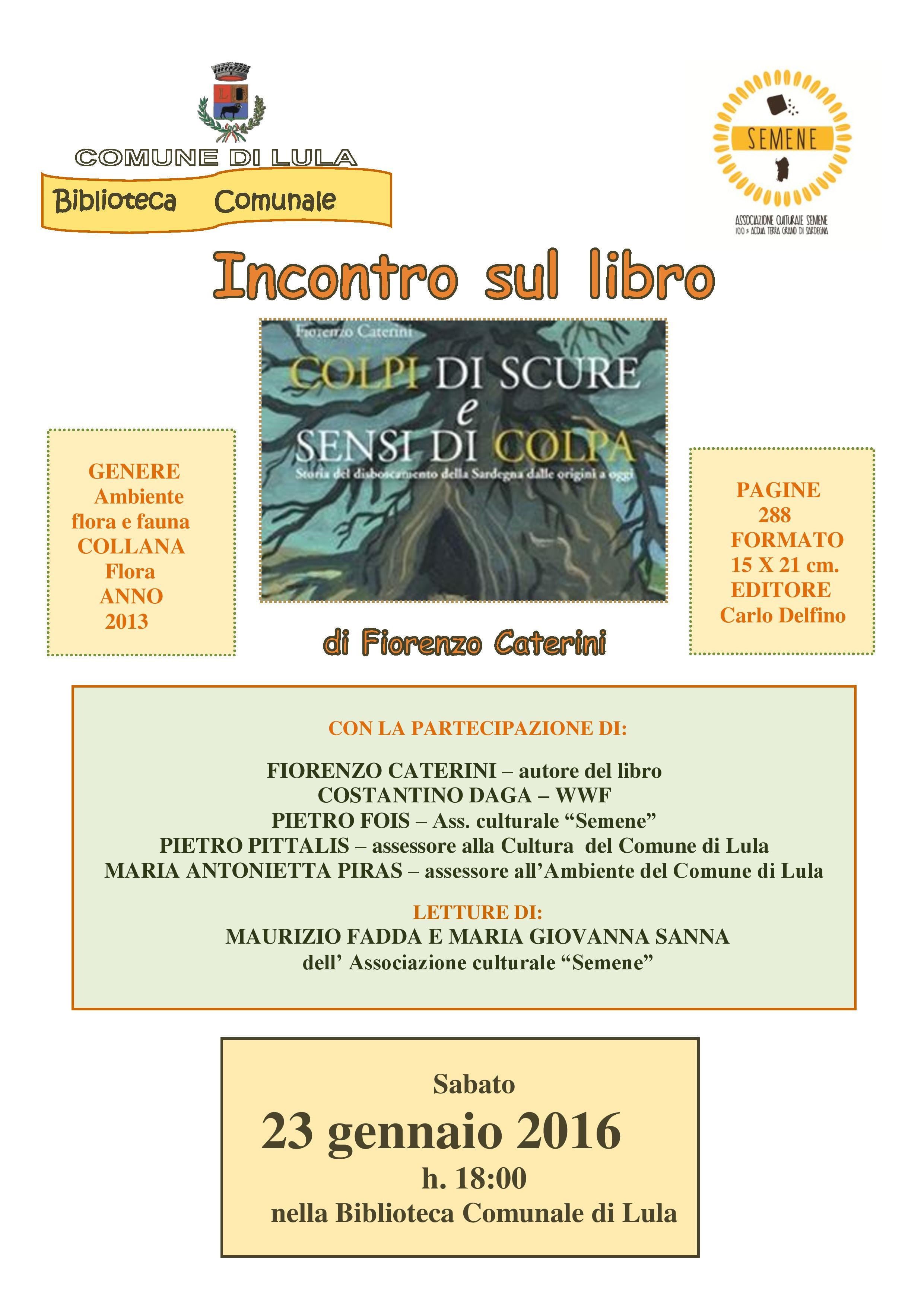 Presentazione del libro 'Colpi di scure e sensi di colpa' di Fiorenzo Caterini